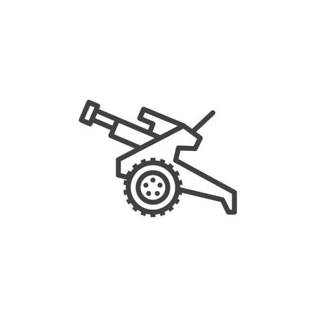 howitzer: Howitzer, cannon line icon, outline vector sign, linear pictogram isolated on white. Symbol, logo illustration Illustration
