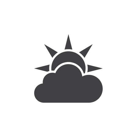 Weather forecast icon vector, partly cloudy solid logo illustration, pictogram isolated on white