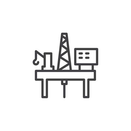 oil and gas industry: Oil platform rig line icon, outline vector sign, linear style pictogram isolated on white. Symbol, logo illustration. Editable stroke. Pixel perfect