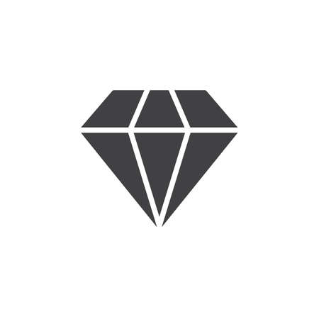 Diamond icon vector, filled flat sign, solid pictogram isolated on white. Gemstone symbol, logo illustration. Pixel perfect
