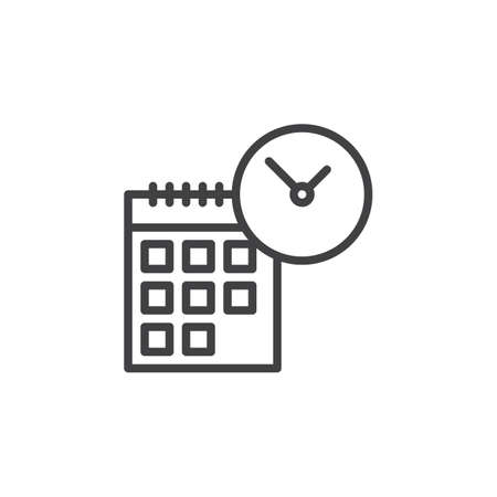 aligned: Calendar and clock line icon, outline vector sign, linear style pictogram isolated on white. Time symbol, logo illustration. Editable stroke. Pixel perfect