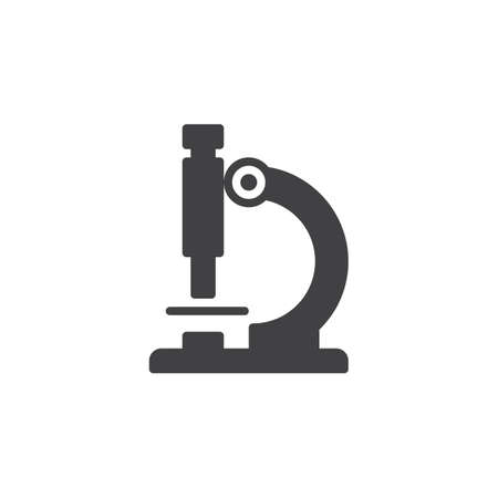 laboratory equipment: Microscope icon vector, filled flat sign, solid pictogram isolated on white. Microscope symbol, logo illustration. Pixel perfect