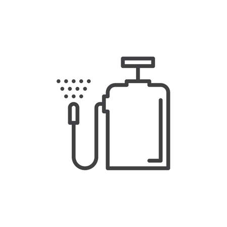 pulverizer: Pressure sprayer line icon, outline vector sign, linear style pictogram isolated on white. Symbol, logo illustration. Editable stroke. Pixel perfect