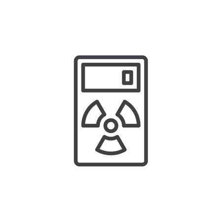 geiger: Geiger counter line icon, outline vector sign, linear style pictogram isolated on white. Radiation measurement device symbol, logo illustration. Editable stroke. Pixel perfect