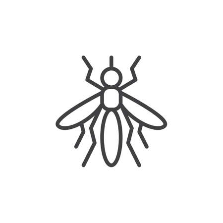 parasite: Mosquito line icon, outline vector sign, linear style pictogram isolated on white. Symbol, logo illustration. Editable stroke. Pixel perfect