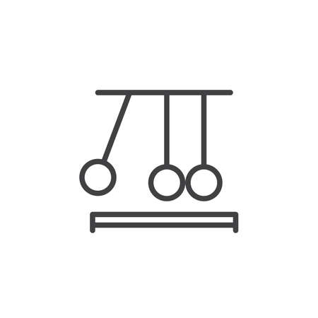 clicker: Newtons cradle line icon, outline vector sign, linear style pictogram isolated on white. Executive ball clicker symbol, logo illustration. Editable stroke. Pixel perfect