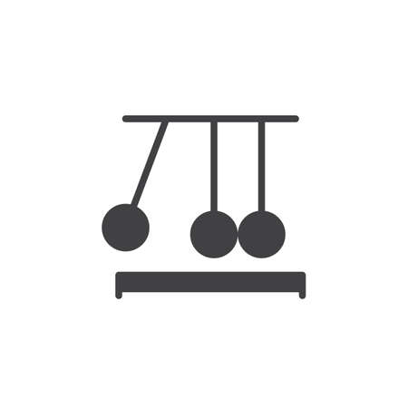 clicker: Newtons cradle icon vector, filled flat sign, solid pictogram isolated on white. Executive ball clicker symbol, logo illustration. Pixel perfect Illustration
