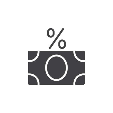 tax aligned: Money banknote with percent sign icon vector, filled flat sign, solid pictogram isolated on white. Fees symbol, logo illustration. Pixel perfect