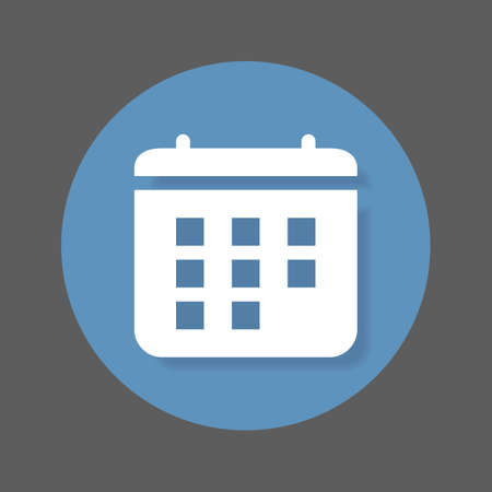 solid: Calendar, date, event flat icon. Round colorful button, circular vector sign with shadow effect. Flat style design