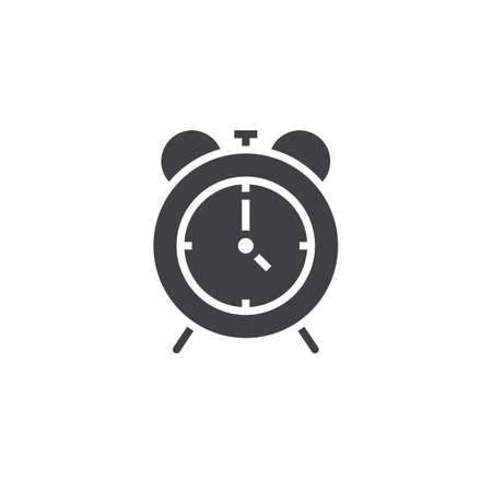 solid: Alarm clock icon vector, solid logo, pictogram isolated on white, pixel perfect illustration
