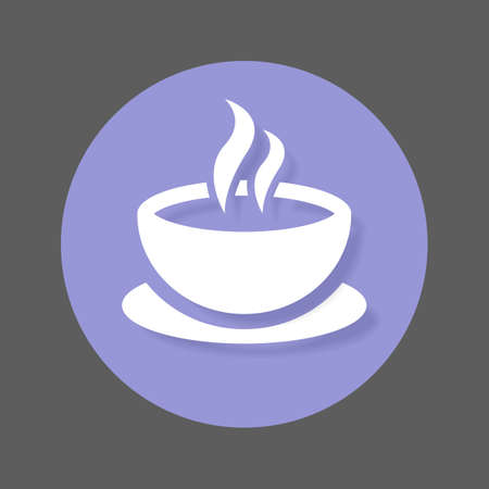 solid: Coffee cup flat icon. Round colorful button, Cafe circular vector sign with shadow effect. Flat style design Illustration