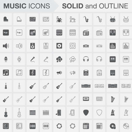 amp: Music icons set, Solid and Outline versions