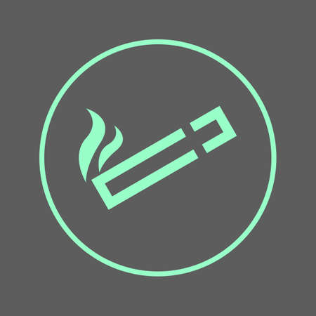 cigar shape: Smoking area circular line icon. Cigarette round colorful sign. Flat style vector symbol