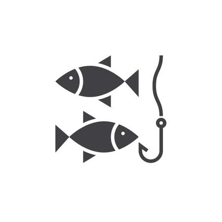 solid: Fishing icon vector, solid logo, pictogram isolated on white, pixel perfect illustration
