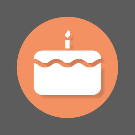 solid: Birthday cake with candle flat icon. Round colorful button, circular vector sign with shadow effect. Flat style design
