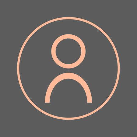 ユーザー アカウントの円の線アイコンの人。アバター丸いカラフルな印。フラット スタイルのベクトル シンボル