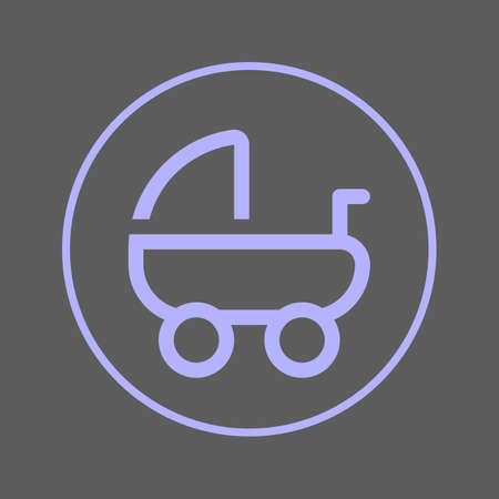 Baby carriage, pram circular line icon. Round colorful sign. Flat style vector symbol