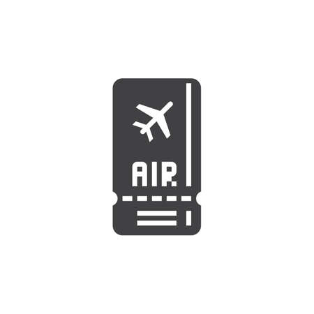 solid: Air ticket icon vector, solid logo, pictogram isolated on white, pixel perfect illustration