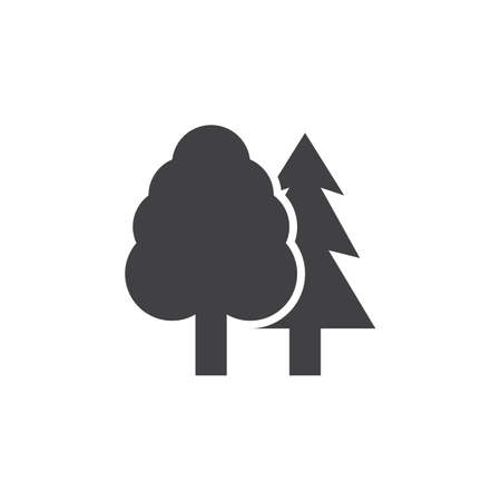 logo vector: Forest icon vector, trees solid logo, pictogram of wood isolated on white, pixel perfect illustration