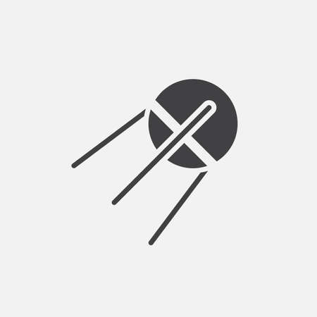 solid: Satellite solid icon, sputnik vector illustration, pictogram isolated on white Illustration