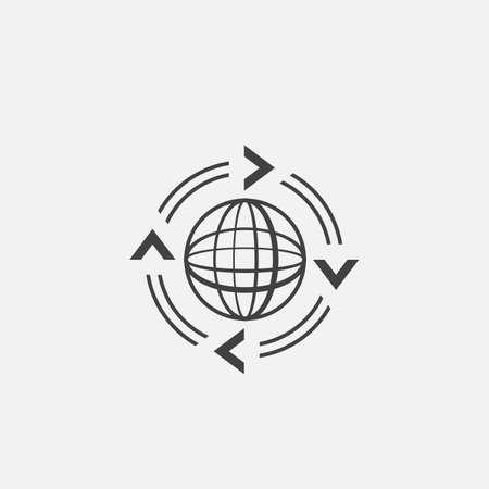 globe logo: Arrows around the globe icon Illustration