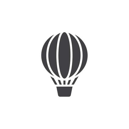 logo vector: Hot air balloon icon vector, solid logo, pictogram isolated on white, pixel perfect illustration