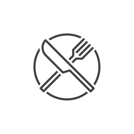 logo vector: Fork and knife line icon, dishware outline vector logo, linear pictogram of a restaurant isolated on white, pixel perfect illustration