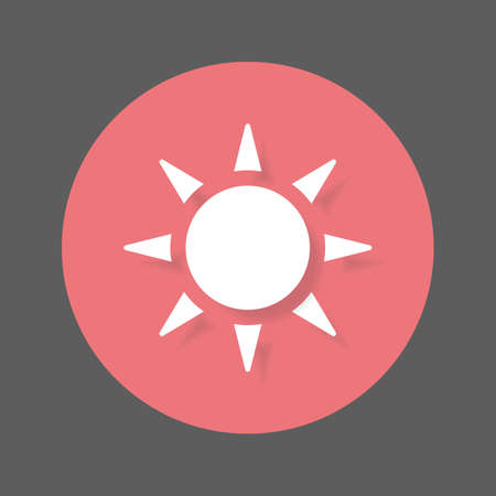 Sun flat icon. Round colorful button, circular vector sign with shadow effect. Flat style design