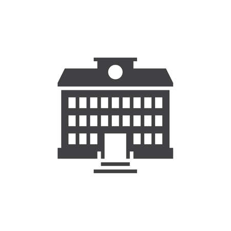 logo vector: School building icon vector, solid logo, pictogram isolated on white, pixel perfect illustration Illustration