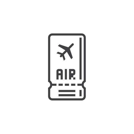 logo vector: air ticket line icon, outline vector logo, linear pictogram isolated on white, pixel perfect illustration