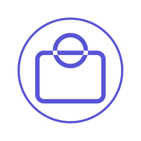 simple store: shopping bag circular line icon. Round sign. Flat style vector symbol