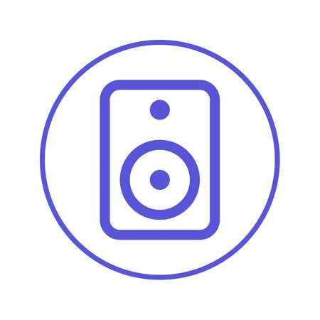 Sound speaker circular line icon. Round sign. Flat style vector symbol. Illustration