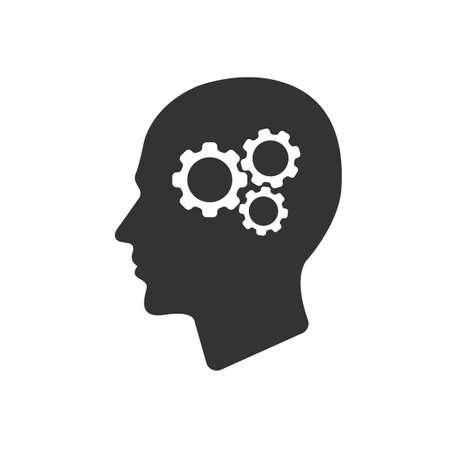 man profile: gear in head  Icon Vector