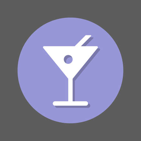 Alcohol drink, cocktail flat icon. Round colorful button, circular vector sign with shadow effect. Flat style design