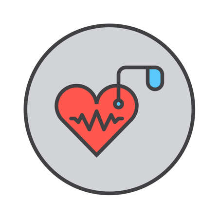 Artificial cardiac pacemaker filled outline icon, round colorful vector sign, circular flat pictogram. Symbol, logo illustration  イラスト・ベクター素材
