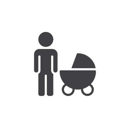 pixel perfect: Father with baby pram icon vector, filled flat sign, solid pictogram isolated on white. Symbol, logo illustration. Pixel perfect