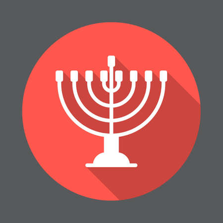 Hanukkah menorah flat icon. Round colorful button, circular vector sign with long shadow effect. Flat style design