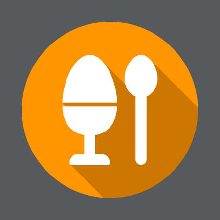 Breakfast boiled egg flat icon. Round colorful button, circular vector sign with long shadow effect. Flat style design