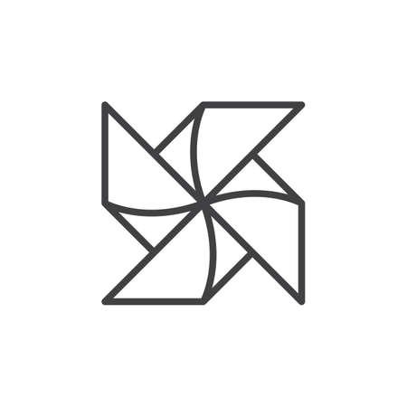 Papel Windmill Pinwheel línea icono, muestra del esquema del vector, pictograma de estilo lineal aislado en blanco. Símbolo, logotipo, ilustración Trazo editable Pixel perfecto