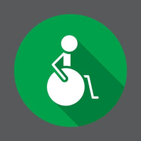 Disability, handicap flat icon. Round colorful button, circular vector sign with long shadow effect. Flat style design