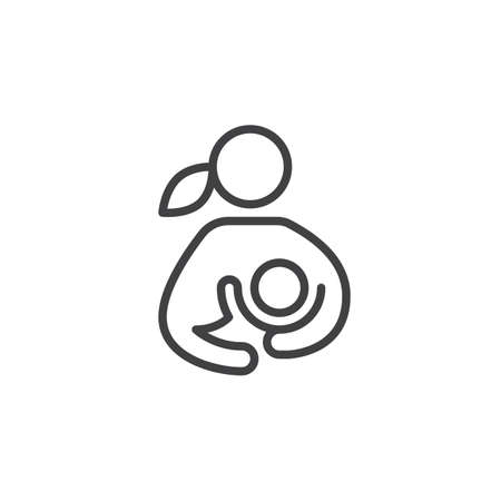 breastfeeding: Breast feeding, woman breastfeeding her child line icon, outline vector sign, linear style pictogram isolated on white. Symbol, logo illustration.