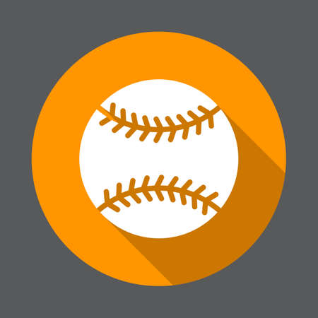 Baseball ball flat icon. Round colorful button, circular vector sign with long shadow effect. Flat style design
