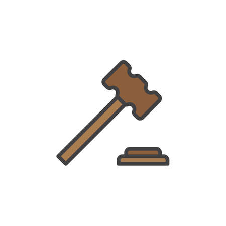 Judge hammer, gavel filled outline line icon, line vector sign, linear colorful pictogram isolated on white. Auction symbol, logo illustration. Editable stroke. Pixel perfect