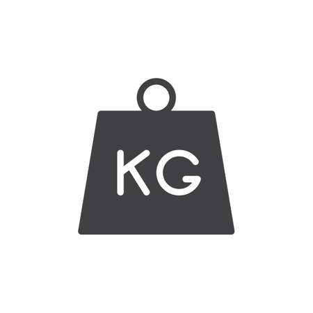 Kettlebell icon vector, filled flat sign, solid pictogram isolated on white. Parcel weight symbol, logo illustration Illustration