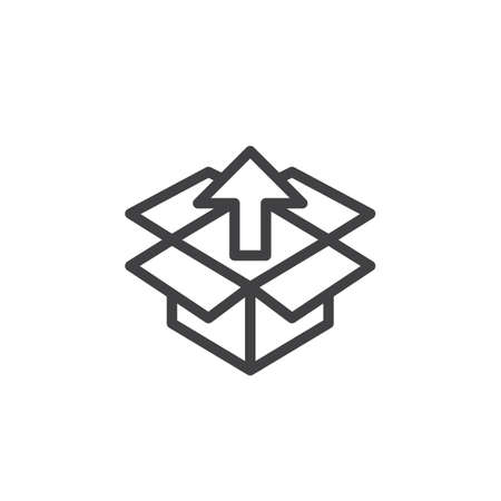aligned: Box with up arrow line icon, outline vector sign, linear style pictogram isolated on white. Unpack, package unboxing symbol, logo illustration Illustration
