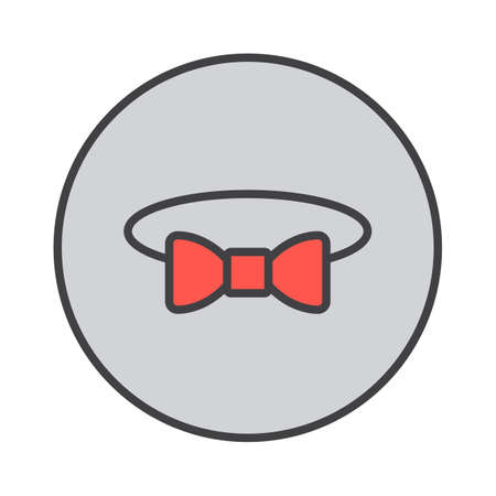 Bow tie filled outline icon, round colorful vector sign, circular pictogram. Symbol, logo illustration
