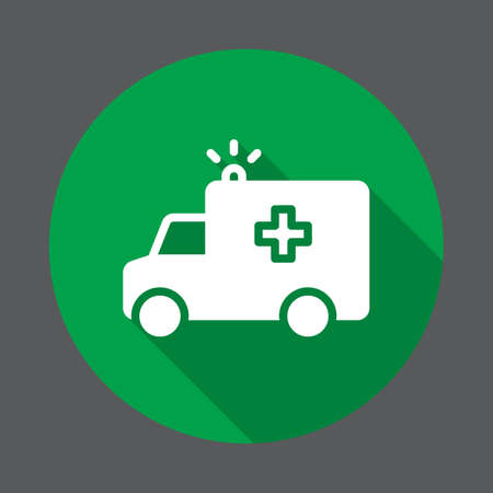 Ambulance truck flat icon. Round colorful button, circular vector sign with long shadow effect. Flat style design