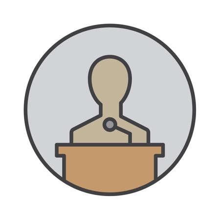Speaker filled outline icon, round colorful vector sign, circular flat pictogram. Lecture symbol, logo illustration Illustration