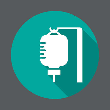 Infusion drip flat icon. Round colorful button, circular vector sign with long shadow effect. Flat style design Illustration