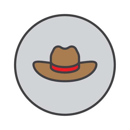 Mens Cowboy Hat filled outline icon, round colorful vector sign, circular pictogram. Symbol, logo illustration Illustration